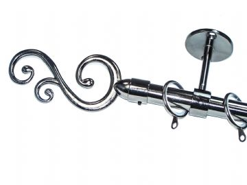 19mm Black Nickel Ceiling Curtain Pole with  Swirl Finials & Lined Rings 1.2m 1. 5m 2.4m 3m
